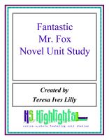 Cover for 'Fantastic Mr. Fox Novel Unit Study'