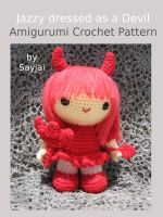 Cover for 'Jazzy dressed as a Devil Amigurumi Crochet Pattern'
