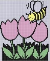 Cover for 'Bee with Flowers Cross Stitch Pattern'