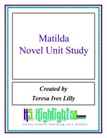 Cover for 'Matilda Novel Unit Study'