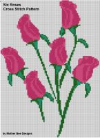 Cover for 'Six Roses Cross Stitch Pattern'