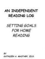Cover for 'AN INDEPENDENT READING LOG - SETTING GOALS FOR HOME READING'