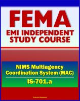 Cover for '21st Century FEMA Study Course: National Incident Management System (NIMS) Multiagency Coordination Systems (IS-701.a)'