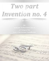 Cover for 'Two part Invention no. 4 Pure sheet music for oboe and trombone by Johann Sebastian Bach arranged by Lars Christian Lundholm'