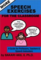 Cover for 'More Speech Exercises for the Classroom: A Guide for Professors, Teachers and Speech Instructors'