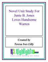 Cover for 'Novel Unit Study For Junie B. Jones Loves Handsome Warren'