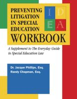 Cover for 'Preventing Litigation in Special Education Workbook'