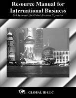 Cover for 'Resource Manual for International Business'