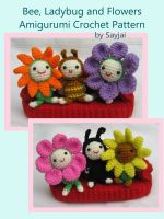 Cover for 'Bee, Ladybug and Flowers Amigurumi Crochet Pattern'