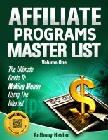 Cover for 'Affiliate Programs Master List Volume One'