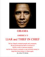 Cover for 'OBAMA; Liar and Thief in Chief'
