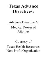 Cover for 'Texas Advance Directives:  Advance Directive & Medical Power of Attorney'