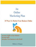 Cover for 'An Online Marketing Plan'
