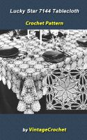 Cover for 'Lucky Star 7144 Tablecloth Vintage Crochet Pattern eBook'