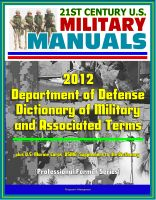 Cover for '21st Century U.S. Military Manuals: 2012 Department of Defense Dictionary of Military and Associated Terms, plus U.S. Marine Corps (USMC) Supplement to the Dictionary'