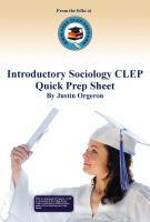 Cover for 'Introductory Sociology CLEP Quick Prep Sheet'