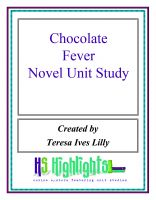 Cover for 'Chocolate Fever Novel Unit Study'