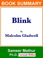 "Sameer Mathur - Summary of ""Blink"" By Malcolm Gladwell"