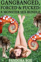 Cover for 'Gangbanged, Forced & Fucked: A Monster Sex Bundle (Werewolf Gangbang/Tentacle Sex)'