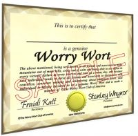 Cover for 'Worry Wort Certificate and Membership Card'