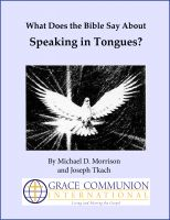 Cover for 'What Does the Bible Say About Speaking in Tongues?'