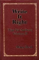 Cover for 'Write It Right - Tips for Authors, Volume II'