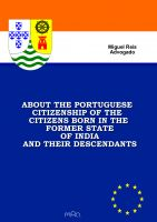 Cover for 'About the Portuguese Citizenship of the Citizens born in the Former State of India and their Descendants'
