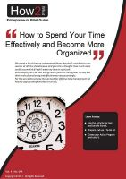 Cover for 'How to Spend Your Time Effectively and Become Well Organized'