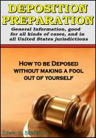 Cover for 'Deposition Preparation - For All Kinds of Cases, in All Jurisdictions'