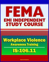 Cover for '21st Century FEMA Study Course: Workplace Violence Awareness Training 2011 (IS-106.11)'