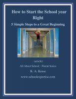 Cover for 'How to Start the School Year RIGHT! -  5 Simple Steps to a Great Beginning'