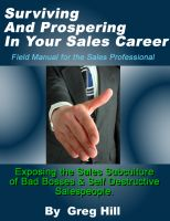 Cover for 'Surviving & Prospering in Your Sales Career - Field Manual for the Sales Professional.'