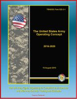 Cover for 'The United States Army Operating Concept 2016-2028 - TRADOC Pam 525-3-1, How the Army Fights, Organizing for Combined Arms Maneuver and Wide Area Security, Training and Education'