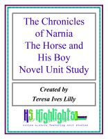 Cover for 'The Chronicles of Narnia The Horse and His Boy Novel Unit Study'