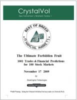 Cover for 'CRYSTALVOL for 100 Stock Markets Track Records and Financial Predictions for November 16 2009'
