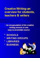 Cover for 'Creative Writing-an overview for students, teachers and writers'