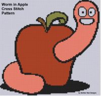 Cover for 'Worm in Apple Cross Stitch Pattern'