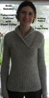 Cover for 'Aran Sweater Fisherman's Pullover with Shawl Collar Knitting Pattern'