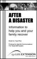 Cover for 'After a Disaster - Information to Help You and Your Family Recover'