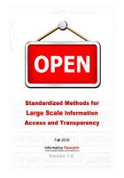 Cover for 'OPEN: Standardized Methods for Large Scale Information Access and Transparency'