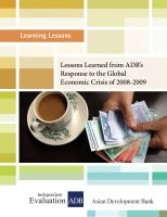 Cover for 'Lessons Learned from ADB's Response to the Global Economic Crisis of 2008-2009'
