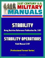 Cover for '21st Century U.S. Military Manuals: Stability - Army Doctrine Reference Publication No. 3-07 and Stability Operations Field Manual 3-07 (Professional Format Series)'