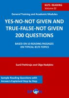 Cover for 'IELTS reading: YES-NO-NOT GIVEN and TRUE-FALSE-NOT-GIVEN 200 questions: volume 01'