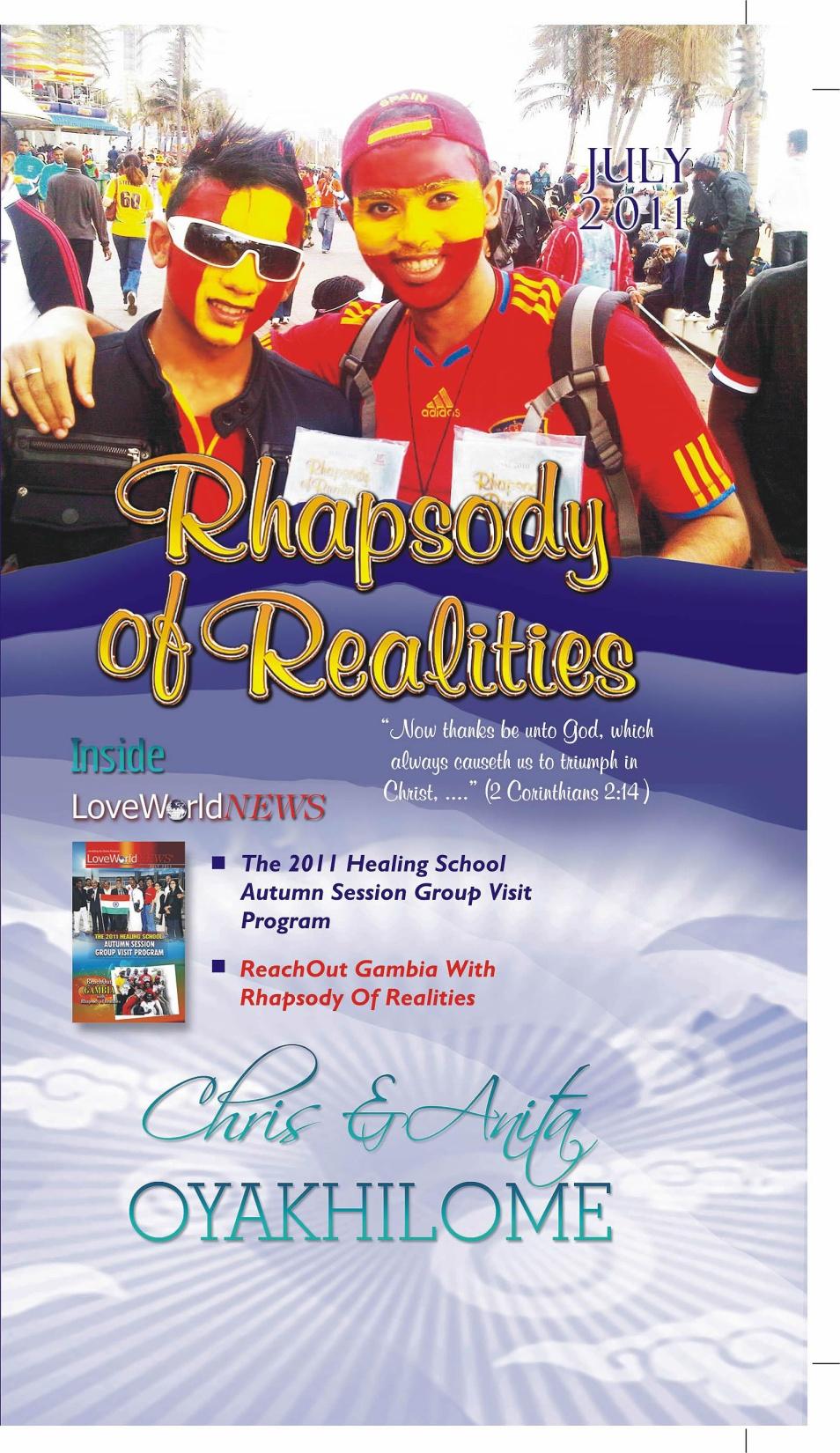Pastor Chris and Anita Oyakhilome - Rhapsody of Realities July 2011 Edition