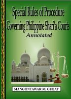Cover for 'Special Rules of Procedure Governing Philippine Shari'a Courts Annotated'
