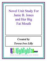 Cover for 'Novel Unit Study For Junie B. Jones and Her Big Fat Mouth'