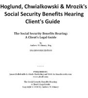 Cover for 'The Social Security Benefits Hearing: A Client's Legal Guide'
