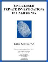 Cover for 'Unlicensed Private Investigations In California'