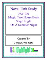 Cover for 'Novel Unit Study for the Magic Tree House Book  stage Fright on a Summer Night'