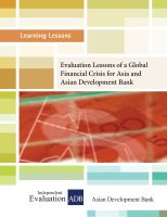 Cover for 'Learning Lessons: Evaluation Lessons of a Global Financial Crisis for Asia and ADB'